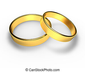 wedding rings - Golden wedding rings in 3D