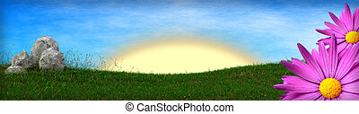 spring background with grass field and asters - 3D render