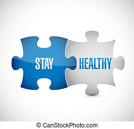 stay healthy puzzle pieces illustration design over a white...
