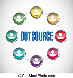 outsource people diagram illustration design over a white...
