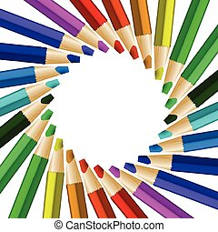 Color pencils in arrange in color wheel colors on white...