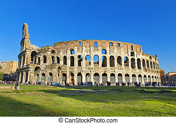 Rome - The beautiful view of the Great Colosseum, Rome,...