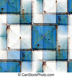 seamless background with blue iron rust square texture