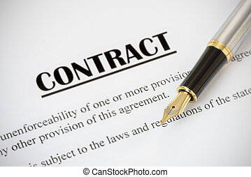 Contract andFountain Pen - Close up of a contract ready to...