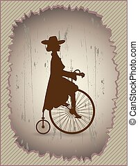 Young lady and retro velocipede - Beautiful lady in a dress...