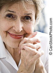 Close up of happy elderly woman - Close up of happy senior...