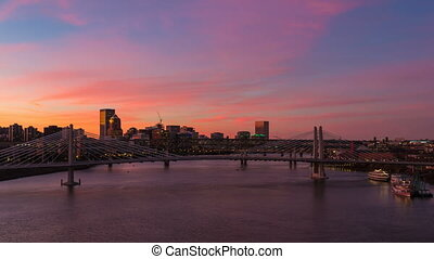 Time Lapse of Sunset in Portland Or - Time Lapse Movie of...