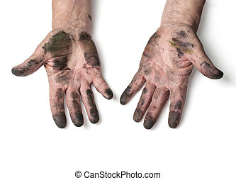 man with dirty hands isolated on white with clipping path