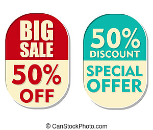 50 percent off discount, big sale and special offer, two...