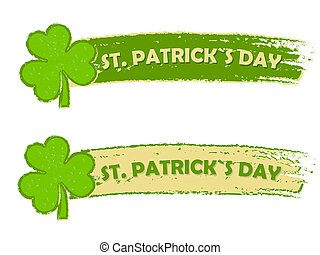 St. Patrick's day with shamrock signs, two green drawn...