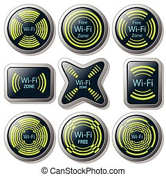 Wireless communication button - Illustration of wireless...