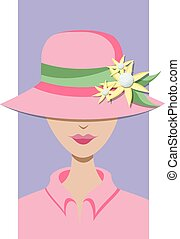 Golfer in Hat - Light skinned woman with a hat that has a...