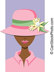 Golf Hat Lady - A woman with a hat that has a flower...