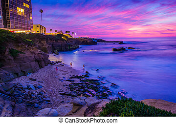 View of Shell Beach and the Pacific Ocean at sunset, in La Jolla