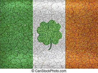 Ireland Flag with Shamrock at Center Grunge Illustration