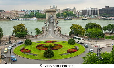 Traffic on Szechenyi Chain Bridge with Budapest, timelapse