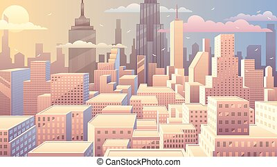 Cityscape Sunrise - Cityscape at sunrise Basic linear...