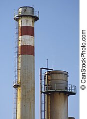 Smokestack - Old smokestack with blue and clear sky