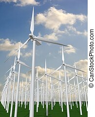 wind mills - 3d rendered illustration of a summer landscape...