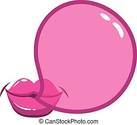 Lips blowing a bubblegum bubble - A female mouth blowing a...