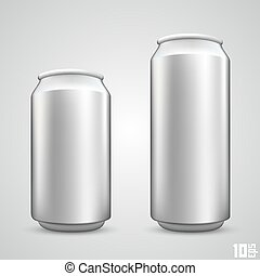 Large and small beer can set art Vector illustration