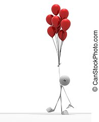 little guy with balloons - 3d rendered illustration of a...