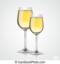Glass of champagne art object. Vector illustration