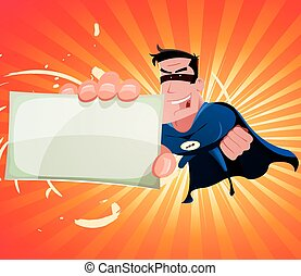 Comic Super Hero Holding Sign