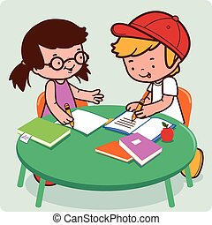 Friends doing homework - A boy and a girl students doing...