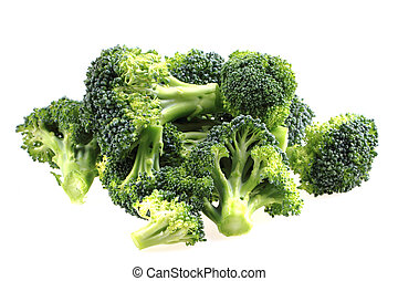fresh green broccoli isolated on the white background