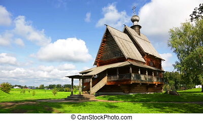 traditional russian wooden church for tourists in the...