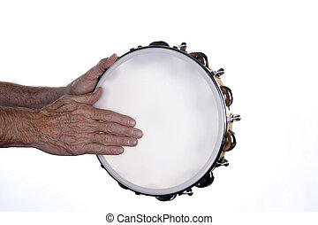 Tambourine Hands Isolated on White - A tambourine being...