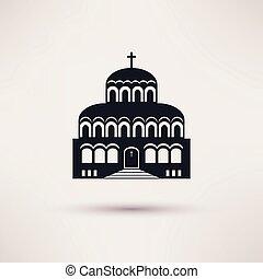 Church building a religious symbol vector icon. - Church...