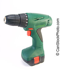 Green hand drill on battery on a white background