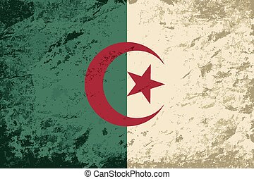 Algerian flag Grunge background Vector illustration