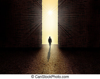 Man standing in front of the light - Man walking towards the...