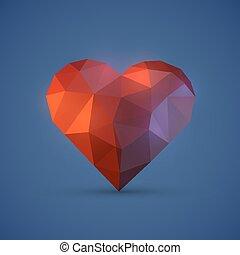 Diamont heart on blue background. Vector illustration
