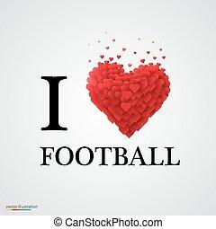 i love football heart sign.