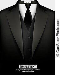 Elegant black tuxedo with tie