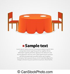 Round table with tablecloth and two chairs