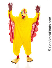 Chicken Man Hands Up - Man in a chicken suit with his hands...