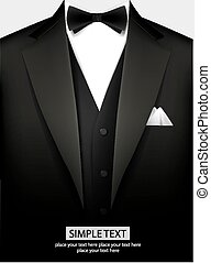 Tuxedo with bow - Elegant black tuxedo with bow Vector...