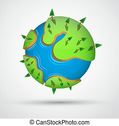 Cartoon earth planet with trees.