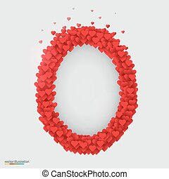 Oval photo frame made of many hearts