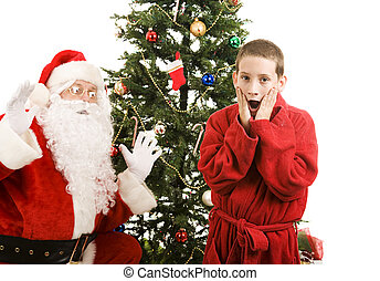 Santa and Child Christmas Surprise
