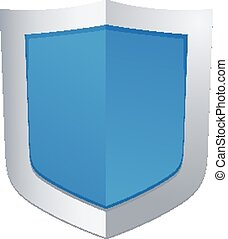 Vector illustration of blue glossy shield