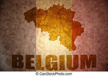Vintage belgium map - belgium map on a vintage canadian flag...