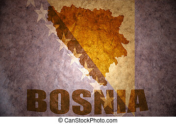 Vintage bosnia map - bosnia map on a vintage canadian flag...