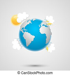 Weather earth art creatibe banner. Vector Illustration
