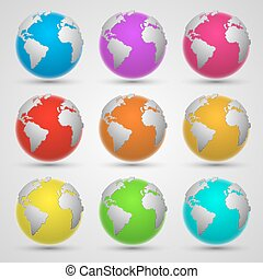 Colored planet earth art set. Vector Illustration